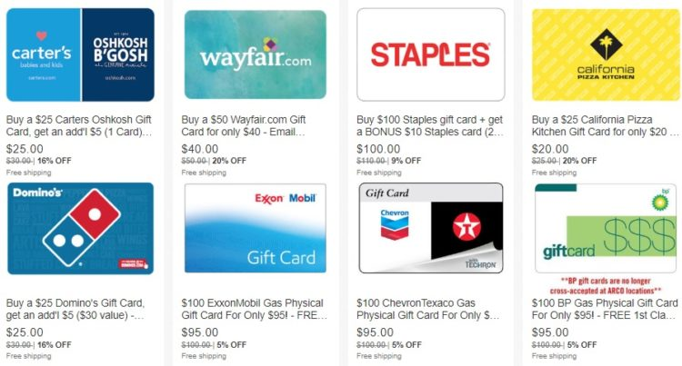 EXPIRED) eBay Daily Deals: Buy Discounted Gift Cards For
