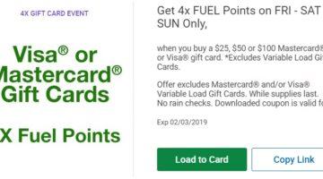 Kroger Visa Mastercard 4x Fuel Points Feb 1-3 2019