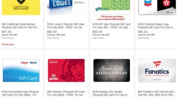 eBay Daily Deals gift cards