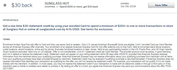 898730138e5 Buy  150 Sunglass Hut Gift Card For  120 With Amex Offer - GC Galore