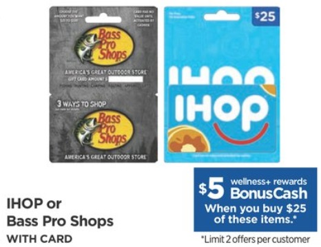 EXPIRED) Rite Aid: Buy $25 Bass Pro Shops Or IHOP Gift Card & Get $5