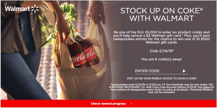 EXPIRED) Coke Rewards: Get Free $3 Walmart Gift Card When Entering 6