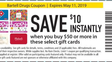 Bartell Drugs $10 Off Select Gift Cards 05.11.19