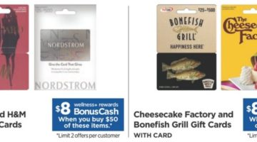 Rite Aid H&M, Nordstrom, Google Play, Bonefish Grill & The Cheesecake Factory Gift Cards