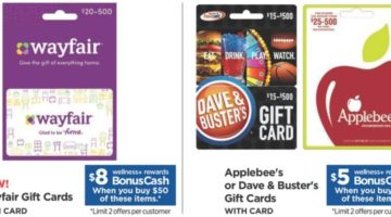 Rite Aid Wayfair Dave & Buster's Applebee's Gift Cards