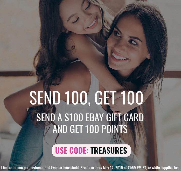 Expired Swych Send 100 Ebay Gift Card Get 100 Points 1 With Promo Code Treasures Gc Galore