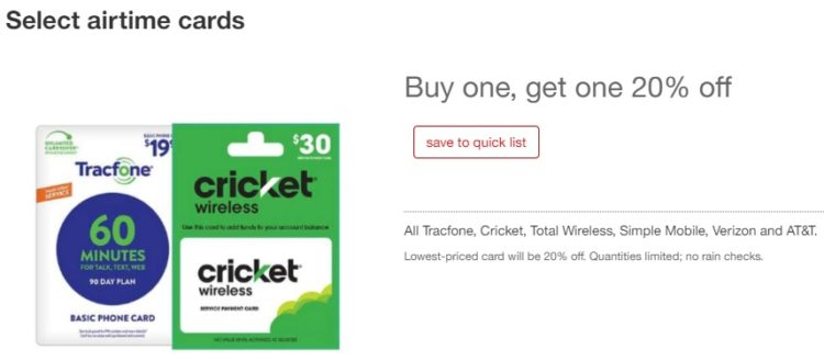 EXPIRED) Target: Save 10% On 2 Prepaid Phone Gift Cards - GC