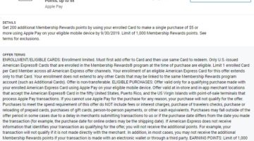 Apple Pay Amex Offer Spend $5 Get 200 Membership Rewards