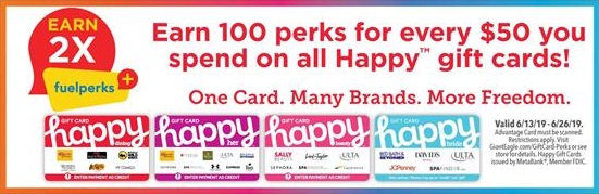 Giant Eagle 2x Fuelperks+ On Happy Gift Cards