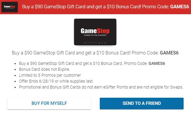 EXPIRED) eGifter: Buy $90 GameStop Gift Card & Get $10 GameStop Gift