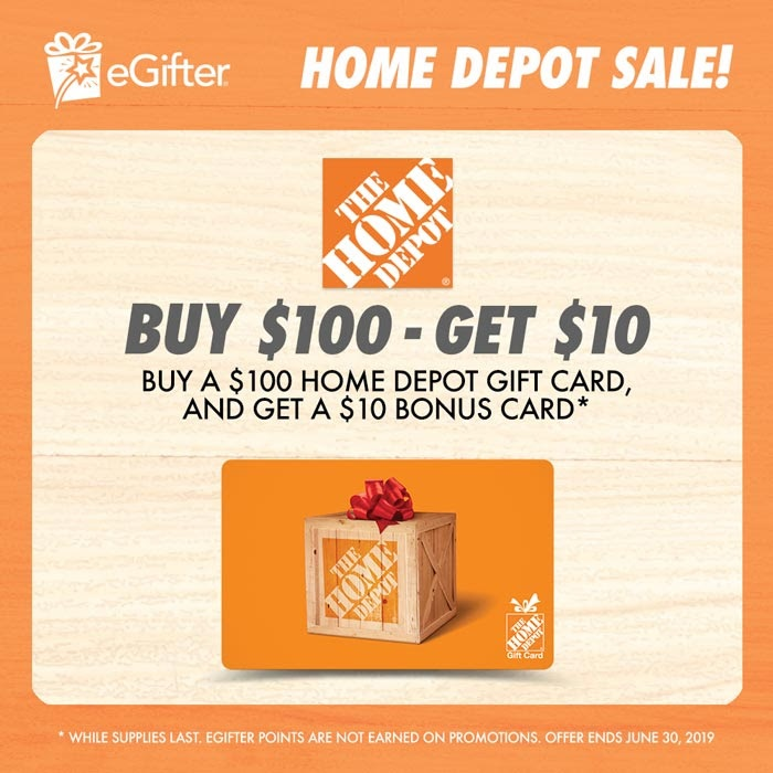 Expired Egifter Buy 100 Home Depot Gift Card Get 10 Gift