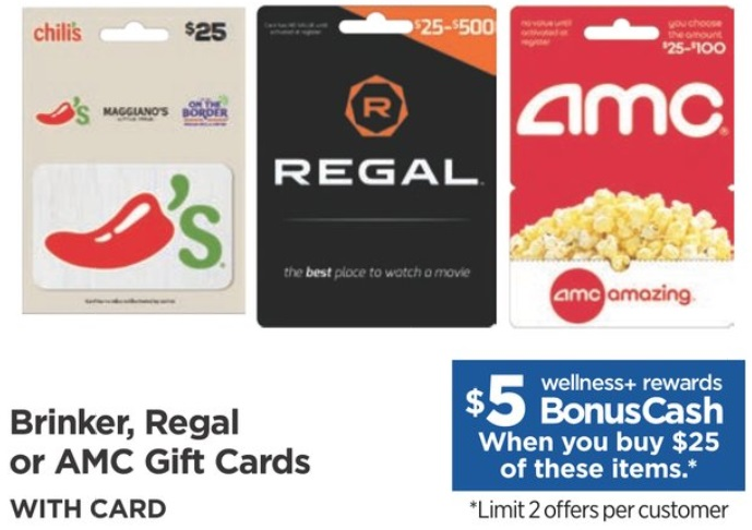 EXPIRED) Rite Aid: Buy $25 Brinker, Regal Or AMC Gift Cards