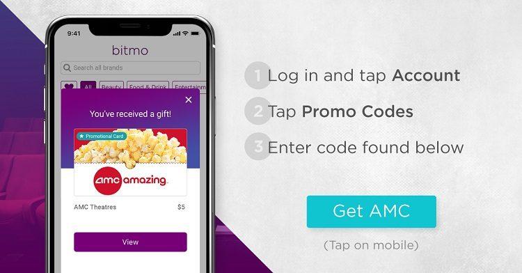 EXPIRED) Bitmo: Get $5 AMC Theatres Promo Card Free With
