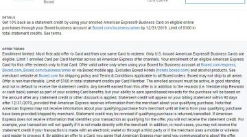 Boxed Amex Offer 10% 12.31.19