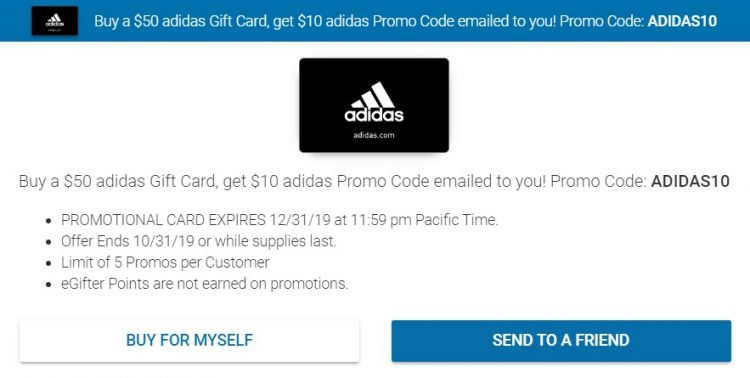 Expired Egifter Buy 50 Adidas Gift Card Get 10 Promo Card Free With Promo Code Adidas10 Gc Galore
