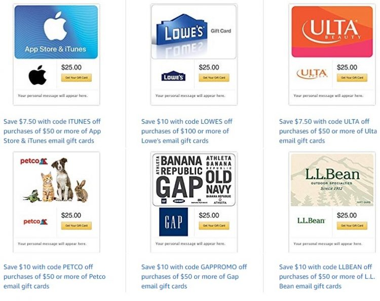 Expired Amazon Save 10 20 On 20 Gift Card Brands Lowe S Chipotle Gap Petco Itunes More Gc Galore