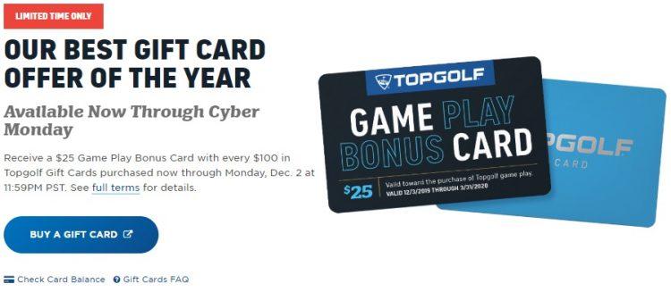 Expired Topgolf Buy 100 Gift Card Get 25 Bonus Card Free Bonus Card Expires 3 31 20 Gc Galore