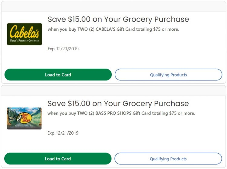 Expired Kroger Buy 2x Cabela S Bass Pro Shops Gift Cards Totaling 75 Get 15 Off Grocery Purchase 1 Offer Per Brand Gc Galore