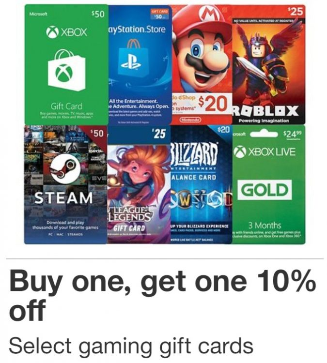Roblox Gift Card Deals Expired Target Buy 1 Gaming Gift Card Get 10 Off 2nd Gaming Gift Card Gc Galore