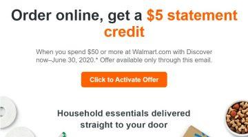 Discover Walmart $5 Statement Credit