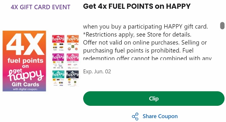 Expired Kroger Earn 4x Fuel Points On Happy Gift Cards Gc Galore