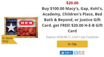 H-E-B $100 $20 08.05.20