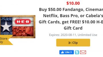 H-E-B $50 $10 08.05.20