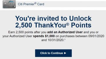 Citi Authorized User bonus