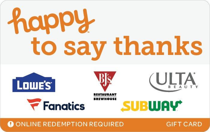 Happy To Say Thanks Swap Gift Card