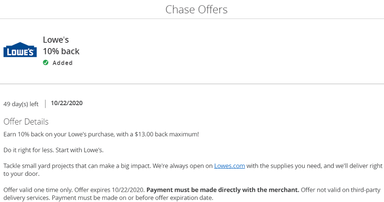 Lowe's Chase Offer