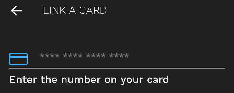 Bumped app add card number