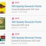Speedway October 2020 restaurant gift cards