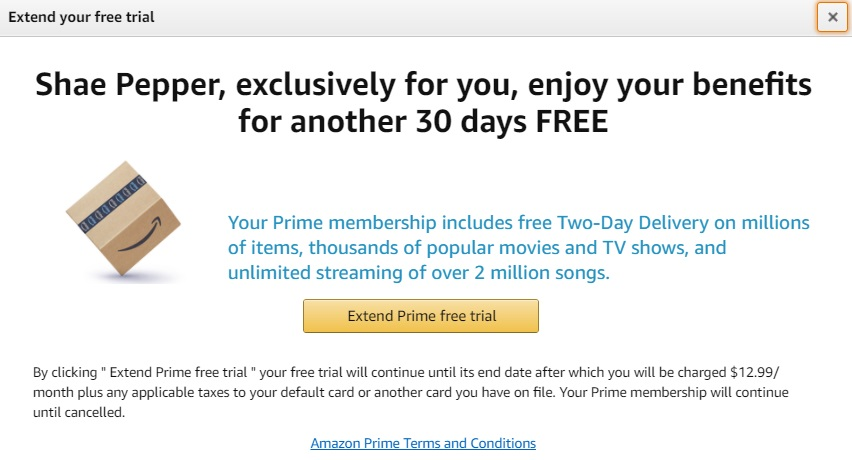 Get An Amazon Prime Trial Last Month Get Another 30 Days Free Possibly Targeted Gc Galore