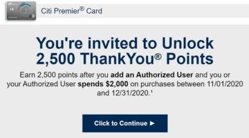 Citi Authorized User Bonus Nov 2020