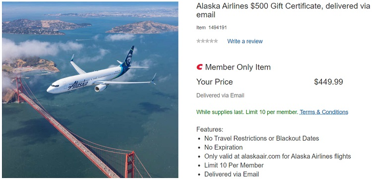 Costco Alaska Airlines Gift Card