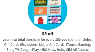 Meijer $5 Reward $50 Gift Cards