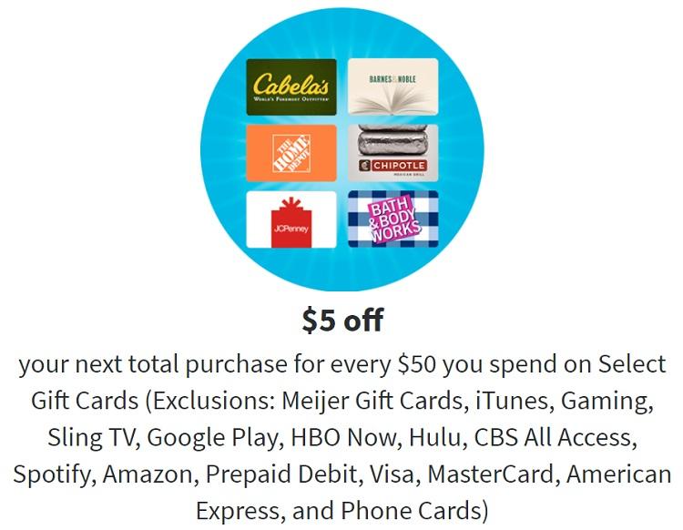 Meijer $5 Reward $50 Gift Cards