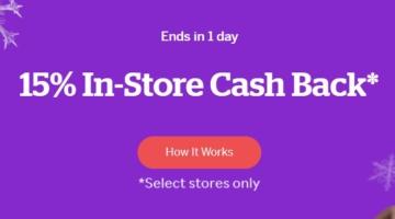 Rakuten 15% in-store cashback