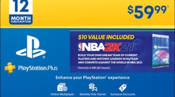 PlayStation Plus NBA 2K21 Gift Card