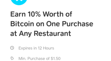 Cash App Restaurant 10% Bitcoin