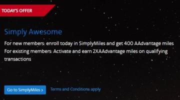 American Airlines SimplyMiles 400 Bonus Miles 2x