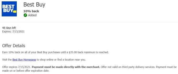 Best Buy Chase Offer 07.15.21