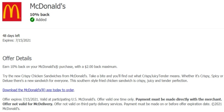 McDonald's Chase Offer 10% Back on up to $20