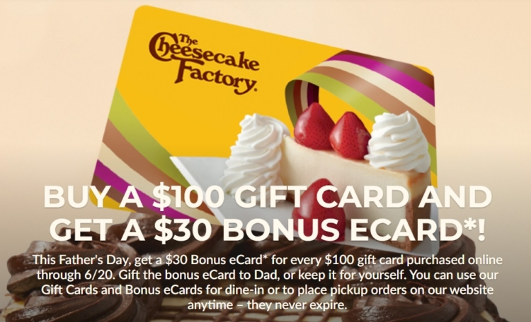 The Cheesecake Factory $100 $30 bonus card