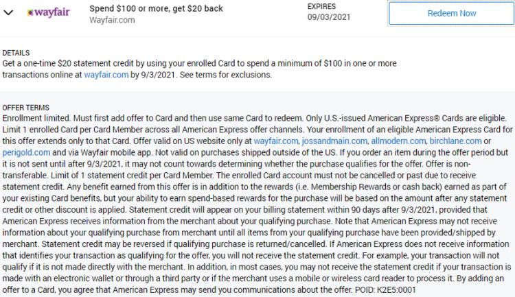 Wayfair Amex Offer spend $100 get $20 back