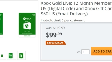 Newegg Xbox $60 12 month Xbox Live