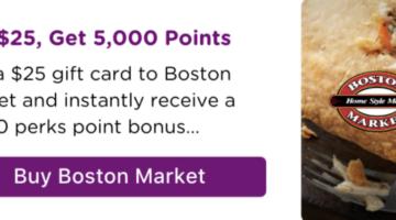 Bitmo Boston Market $25 gift card 5,000 Perk Points