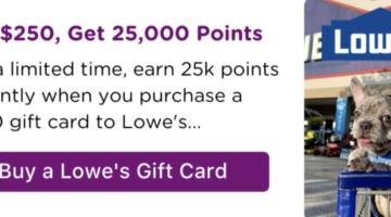 Bitmo Lowe's $250 25,000 Perk Points