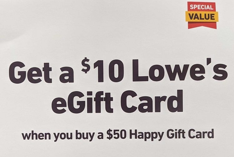 Lowe's Happy gift card deal